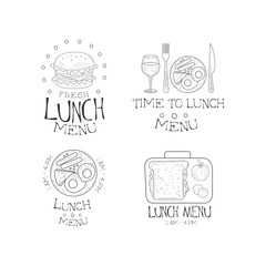 Vector set of 4 hand drawn emblems for cafe. Time to lunch. Monochrome logos with burger, traditional breakfast and sandwich