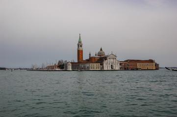 Classic view across the water towards Church of San Giorgio Maggiore, Venice, Italy