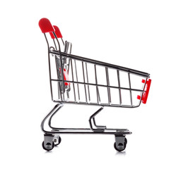 Side View of Shopping Cart On White Background