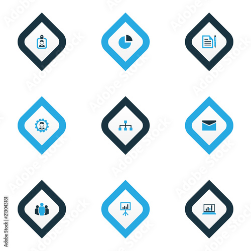 Job icons colored set with statistics, unity, circle graph