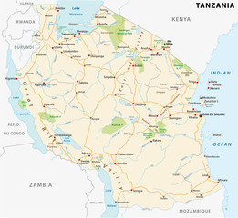 United Republic of Tanzania road vector map