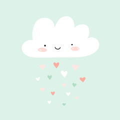 Nursery art with happy smiling cloud and hearts rain. Cute Valentines illustration.