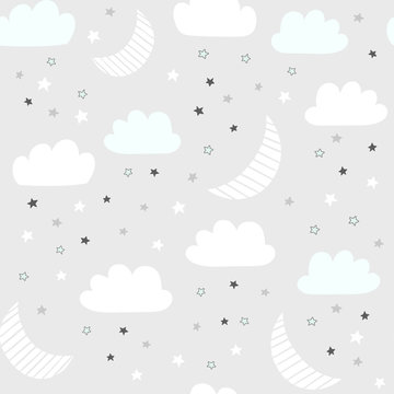 Night sky vector pattern with hand drawn stars, clouds and moon. Seamless baby background.