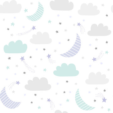 Cute night sky vector pattern with hand drawn stars, clouds and moon. Seamless baby background.
