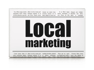 Advertising concept: newspaper headline Local Marketing on White background, 3D rendering