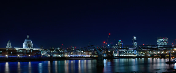 City of London at night from river Thames