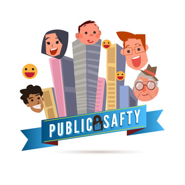 Public safty concept. Building in big city with smily people - vector illustration