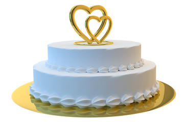 Wedding cake 3D with gold hearts