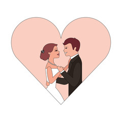 married couple in heart isolated icon