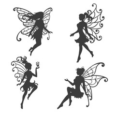 Set of beautiful Fairy silhouettes. Vector collection.