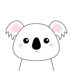 White koala face . Black contour silhouette. Kawaii animal. Cute cartoon bear character. Funny baby with eyes, nose, ears. Love Greeting card. Flat design. White background Isolated.