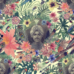 Seamless hand drawn watercolor pattern with maharajah head, flowers, leaves, feathers.
