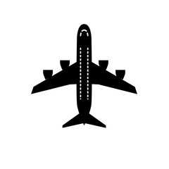 Airplane plane airliner icon isolated on white background. Flat style.