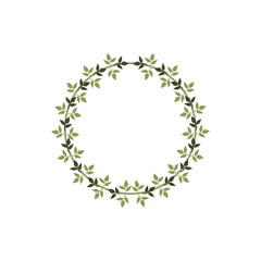 Round circle wreath of branches with leaves. Design for invitation, wedding, birthday or greeting cards and place for text. Colored vector illustration.