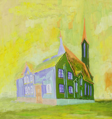 Oil Painting. Beautiful Cathedral on a sunny day. Rough brush strokes. Bright colors.