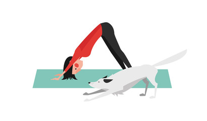 The Young Woman Practicing Yoga. The White Dog Stretching Itself in the Same Position. Downward Facing Dog Pose - Adho Mukha Svanasana.