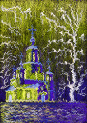 Pastel Painting on paper and digital technology. Beautiful church on a frosty winter night. Trees and birds sitting on the branches.