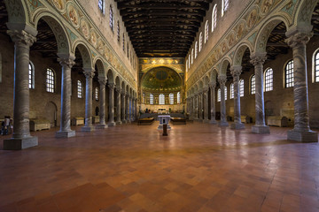 Interior of the Basilica of Sant'Apollinare in Classe, an important landmark of Byzantine art and UNESCO World Heritage Site, Ravenna, Emilia-Romagna, Italy