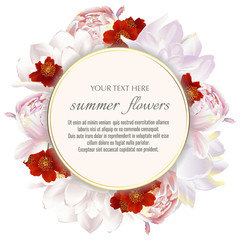 Template for greeting cards, wedding decorations, sales. Round Vector banner with Luxurious peony and tulips flowers. Spring or summer design.