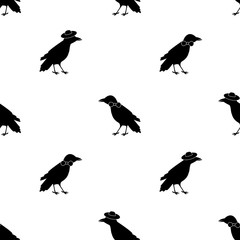 Seamless pattern with black ravens, tie and hats on the white background