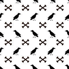 Seamless pattern with black ravens and bones on the white background