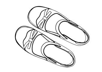 sketch of children's shoes vector