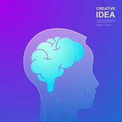 Creative ideas concept.The brain represents initiation.