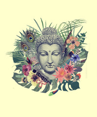 Watercolor hand drawn illustration with buddha head, flowers, leaves, feathers.