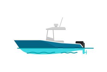 Pretty Sea Boat Color Template Vector Illustration
