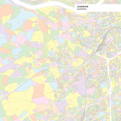 Colorful map of Leonding, Austria