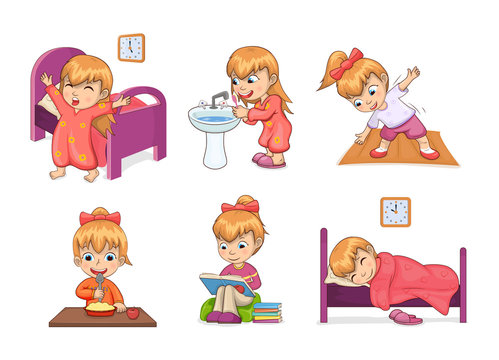 Girl Daily Routine Collection Vector Illustration