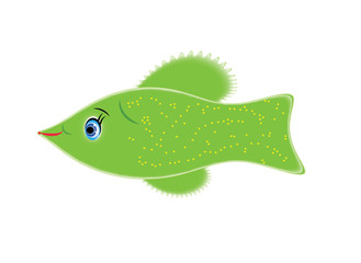Cartoon green fish. Format vector and jpg, isolated.