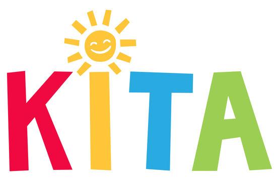 Kita - Fröhlich bunte Buchstaben mit Sonne als i Punkt