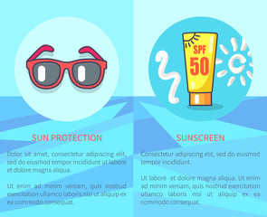 Set of Sun Protection and Sunscreen Posters