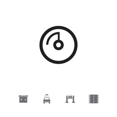 Set of 5 editable vehicle icons. Includes symbols such as road, battery, odometer and more. Can be used for web, mobile, UI and infographic design.