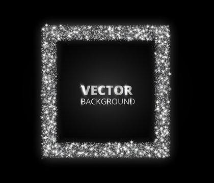 Festive silver sparkle background. Glitter border, circle frame. Vector dust, diamonds, snow on black.