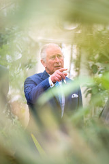 Britain's Prince Charles points at a rare Wood's Cycad tree, during a visit to the Royal Botanic Gardens in Kew, London
