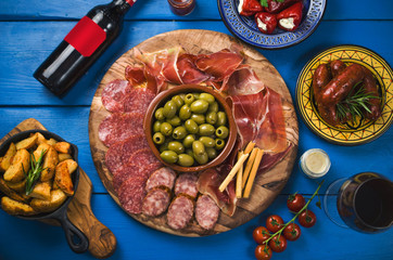 Spanish tapas on wooden table