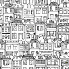 Hand drawn European city houses seamless pattern. Cute cartoon style vector illustration. Modern townhouse building sketch. City buildings, Creative Doodle decorative elements collection.