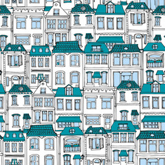 Hand drawn European city houses seamless pattern. Cute cartoon style vector illustration. Colorful Modern townhouse building sketch. City buildings, Creative Doodle decorative elements collection.