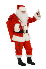 Santa Claus carry sack full of presents on his back and hand bell
