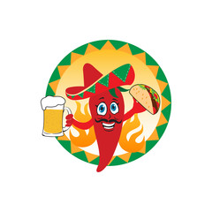 Mexican red chili peppers with beer, sombrero hat