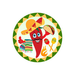 mexican red chili pepper with maracas and towel, sombrero hat, mustache. Mexican logo, labels, emblems and badges, vector.