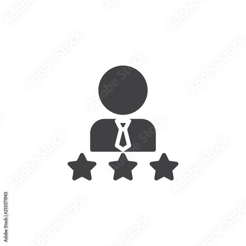 Man And Three Stars Vector Icon Filled Flat Sign For Mobile Concept