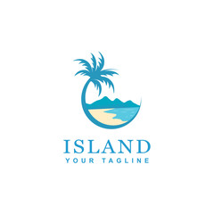 beach and island logo design, vector design of circular beach icons
