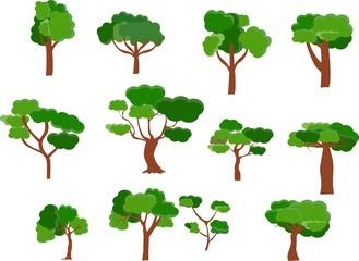 Vector set of flat design trees isolated on white illustration