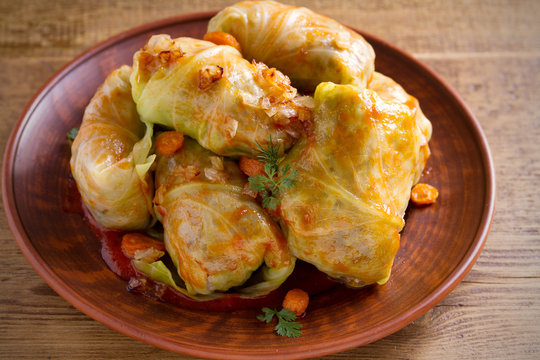 Stuffed cabbage leaves with meat, rice and vegetables. Chou farci, dolma, sarma, sarmale, golubtsy or golabki - popular dish in many countries. horizontal
