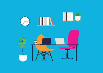 Freelancers working desk scene