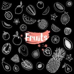 Hand drawn sketch style set of exotic fruits isolated on black background. Vector illustration.