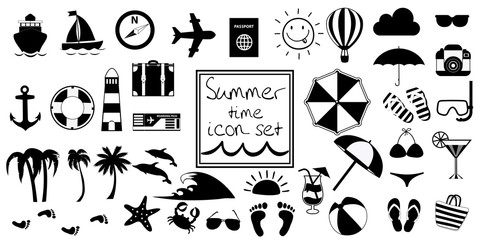 Vector black and white summer travel or vacation beach big icon set